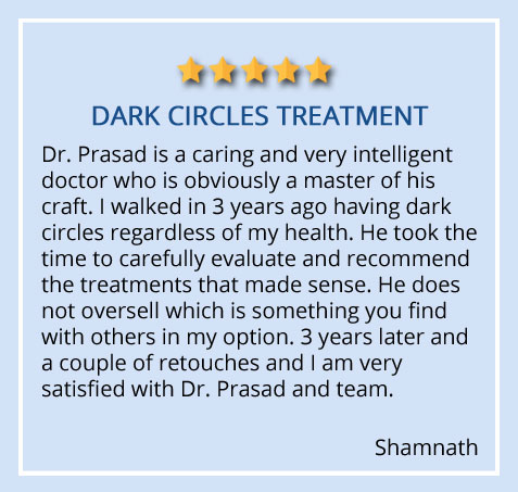 Patient review on dark circles treatment received at our Garden City, Long Island